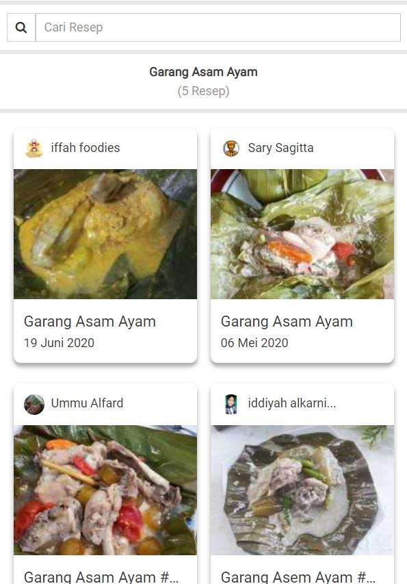 fitur cari resep yummy app